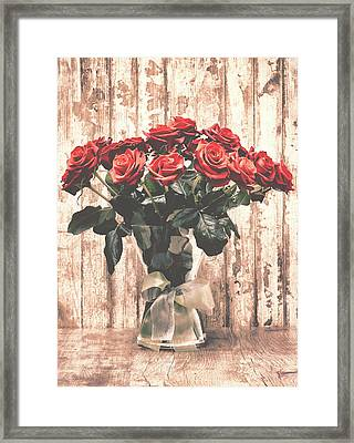 Bouquet Roses Framed Print by Wim Lanclus