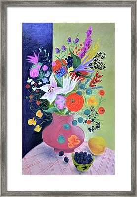 Bouquet With Dahlias And Blackberries Framed Print by Tatjana Krizmanic