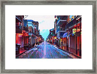 Bourbon Street At Dawn Framed Print by Bill Cannon