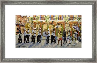 Bourbon Street Second Line New Orleans Framed Print by Richard T Pranke