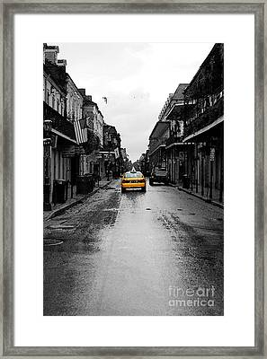 Bourbon Street Taxi French Quarter New Orleans Color Splash Black And White Watercolor Digital Art Framed Print
