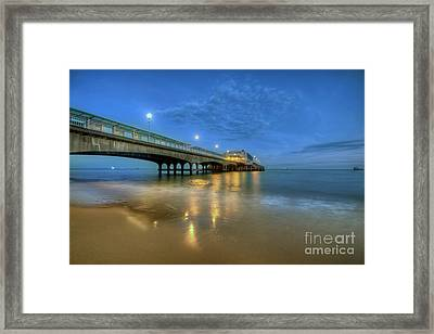 Framed Print featuring the photograph Bournemouth Pier Blue Hour by Yhun Suarez