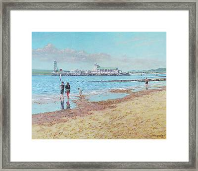 Framed Print featuring the painting Bournemouth Pier Late Summer Morning by Martin Davey