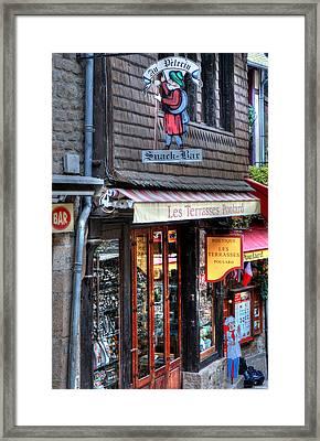 Boutique Les Terasses Poulard Framed Print