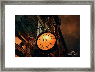 Boutique Sign - Quebec City Framed Print by Maria Angelica Maira