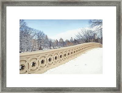 Bow Bridge In Winter The Central Park New York Framed Print by Design Remix