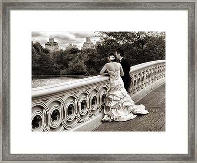 Bow Bridge Wedding Framed Print