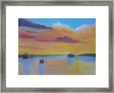 Bow Lake Ice Fishing Framed Print