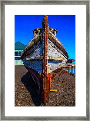 Bow Of Old Worn Boat Framed Print