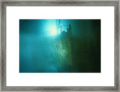 Bow Railing Of R.m.s. Titanic Framed Print by Emory Kristof