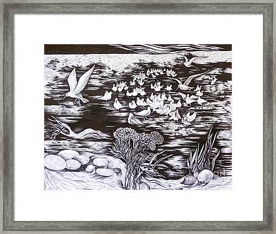 Framed Print featuring the drawing Bow River by Anna  Duyunova