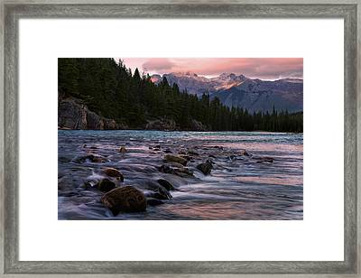 Framed Print featuring the photograph Bow River Sunset Reflections by Dave Dilli