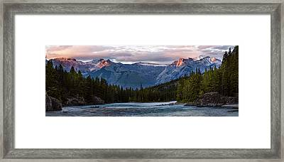 Framed Print featuring the photograph Bow River Sunset Reflections Panorama by Dave Dilli