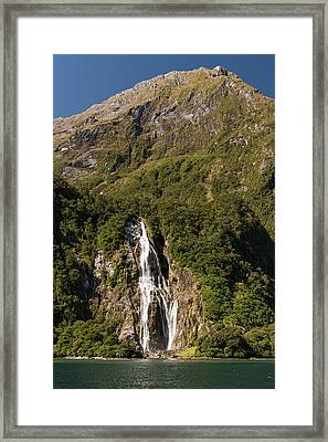 Framed Print featuring the photograph Bowen Falls Milford Sound by Gary Eason