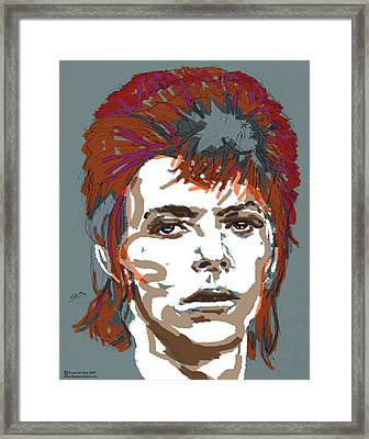 Bowie As Ziggy Framed Print by Suzanne Gee