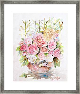 Bowl Full Of Roses Framed Print