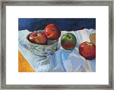 Bowl Of Apples Framed Print by Robert Bissett