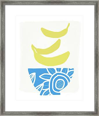 Bowl Of Bananas- Art By Linda Woods Framed Print