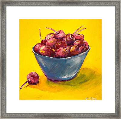 Bowl Of Cherries Framed Print by Anne Seay