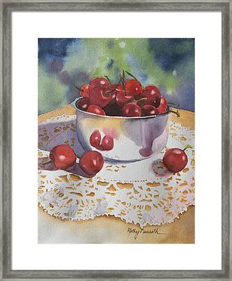 Bowl Of Cherries Framed Print by Kathy Nesseth