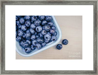 Bowl Of Fresh Blueberries Framed Print by Edward Fielding