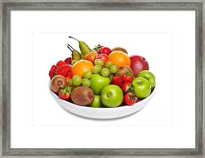Bowl Of Fresh Fruit Isolated On White Framed Print by Richard Thomas