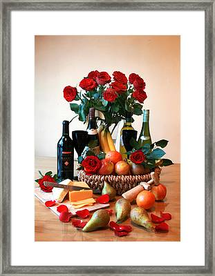 Bowl Of Fruit For The Perfect Picnic Framed Print by Dominick Moloney