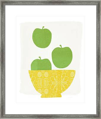 Bowl Of Green Apples- Art By Linda Woods Framed Print by Linda Woods