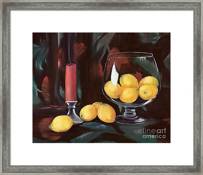 Bowl Of Lemons Framed Print by Carol Sweetwood