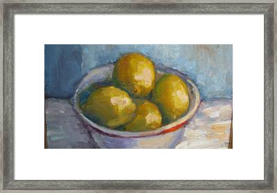 Bowl Of Lemons Framed Print