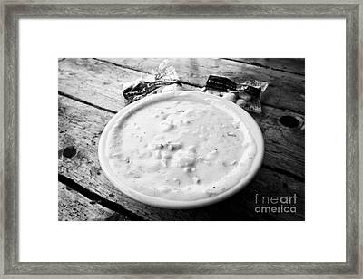 bowl of new england clam chowder and oyster crackers Boston USA Framed Print
