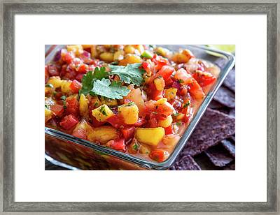 Bowl Of Peach Salsa Framed Print