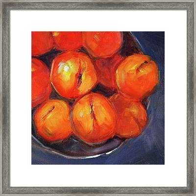 Bowl Of Peaches Still Life Framed Print by Nancy Merkle