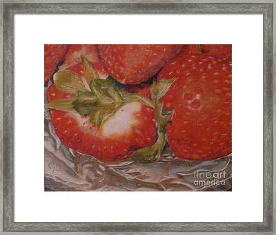 Bowl Of Strawberries Framed Print by Crispin  Delgado