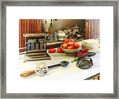 Bowl Of Tomatoes On Counter Framed Print