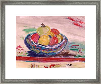 Bowl On A Red Edge Framed Print by Mary Carol Williams