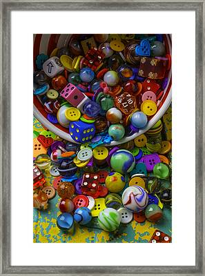 Bowl Spilling Marbles Buttons And Dice Framed Print by Garry Gay