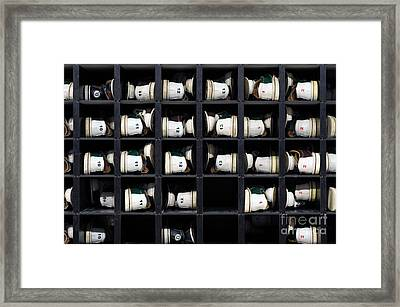 Bowling Rental Shoes In A Shoe Rack Framed Print by Paul Velgos