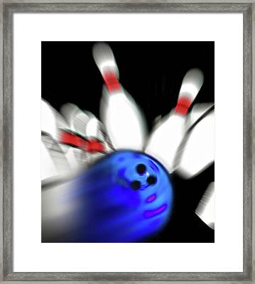 Bowling Sign 2 - Strike  Framed Print by Steve Ohlsen