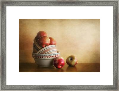 Bowls And Apples Still Life Framed Print by Tom Mc Nemar