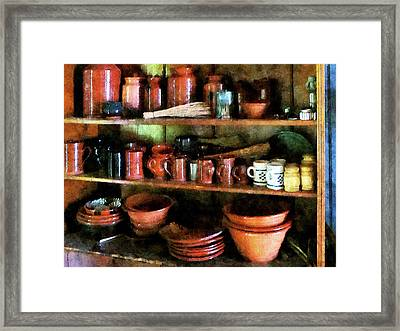 Bowls And Cups In Pantry Framed Print by Susan Savad
