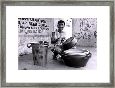 Bowls For Washing Framed Print by Jez C Self