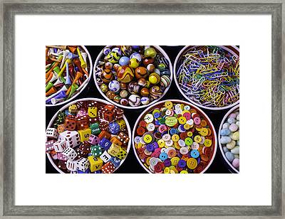 Bowls Full Of Things Framed Print by Garry Gay