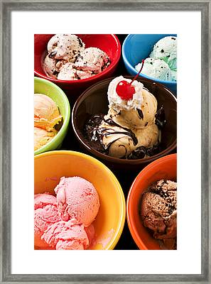 Bowls Of Different Flavor Ice Creams Framed Print