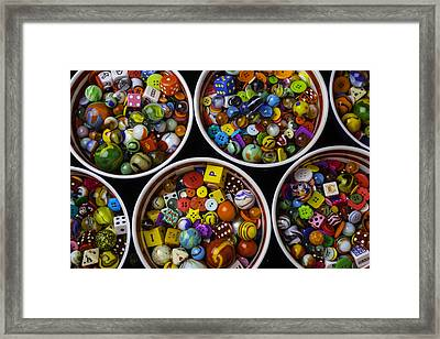 Bowls Of Marbles Dice And Buttons Framed Print by Garry Gay