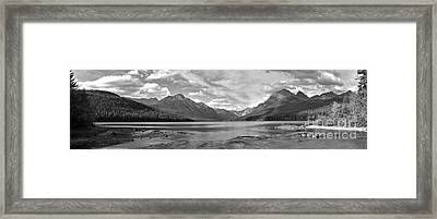Bowman Lake Black And White Panorama Framed Print by Adam Jewell