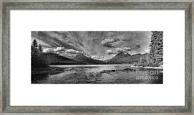Bowman Lake Black And White Panoramic Framed Print by Adam Jewell