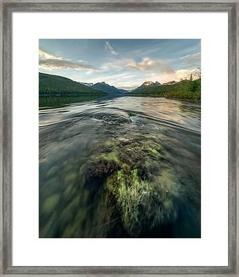 Sunset // Bowman Lake, Glacier National Park  Framed Print