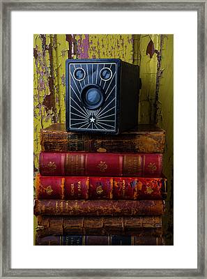Box Camera And Books Framed Print