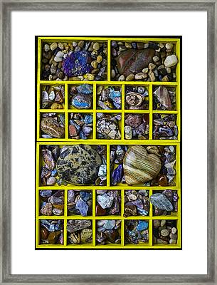 Box Compartments With Stones Framed Print by Garry Gay